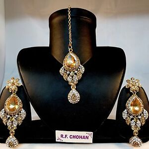 Gold earrings tikka set bride wedding prom bollywood hijab wear head piece party
