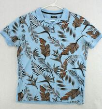 BESSE Blue Fern Leaf Print Short Sleeve Polo Shirt Youth Boys 2XL