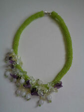 FLORAL AMETHYST CITRINE AND QUARTZ BEADED NECKLACE OOAK FLOWERS SEED BEAD