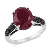 Platinum Over 925 Sterling Silver AA Ruby Black Spinel Ring Gift Ct 6.5