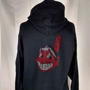 Cleveland Indians Rhinestone Chief Wahoo front and back zipper Hoodie