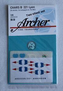 Archer 1/35 Char B 221 Lyon (2e section, 1re com. 15e BBC) Tank Markings AR35220