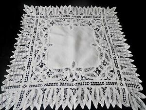 """SMALL VINTAGE TAPE LACE TABLE CLOTH  22"""" BY 22"""""""