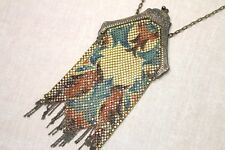 RARE Antique Art Deco Mandalian Lustro Pearl Enamel Drop Mesh Purse - Flapper