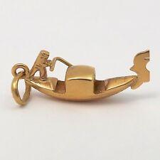 18K Gold 3D  Venice Italy Gondola Venezia Boat Charm Pendant 2.6gr