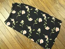 Petite Sophisticate Black Floral Print Silk Skirt     Size 4