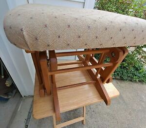 Vtg Wood Base Gliding Ottoman From Dutailier Inc. Quebec, Canada Has Tags 1998