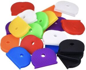 6 x Coloured Key Top cover Caps Assorted Head Covers ID Tag Cap Ring Keyring