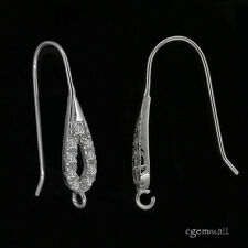 Sterling Silver CZ Teardrop Ear Wire French Hook Earrings Connector #99069