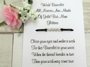 Niece Wish Bracelet Special Niece Card Jewellery Quote Gift Family Rhinestone