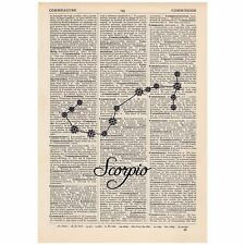 Scorpio Dictionary Word Art Print Quirky, Alternative, Cosmic, Star Sign