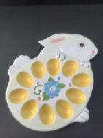 Pier 1  Handpainted Bunny Rabbit Deviled Egg Tray Platter Dish