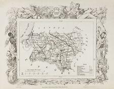 1870ca - Mapa geográfica antiguo Basses-Pyrénées & Hautes-Pyrénées