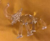 "Elephant Small Elephant Trunk Up Clear Crystal Glass Animal Figurine 3"""