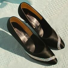 Womens Sz 9.5 (7.5 UK) GAMBA of London Black w/ Rinestones Ballroom Dance Shoes