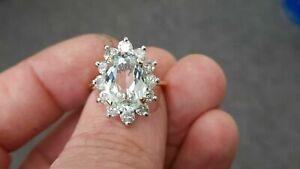 3 Ct Oval Cut Aquamarine & Diamond Halo Engagement Ring 14K Yellow Gold Over