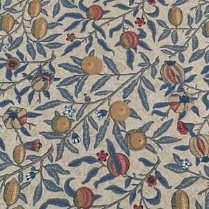 """WILLIAM MORRIS CURTAIN FABRIC DESIGN """"Fruit""""3 METRES IVORY & TEAL 100% COTTON"""