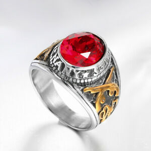 UNITED STATES NAVY RING FOR MEN STAINLESS STEEL RED CZ MILITARY RING SILVER GOLD
