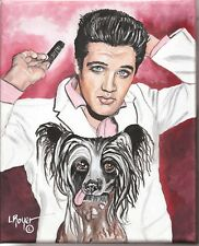 Chinese Crested Elvis Art Print 8X10 By L Royer #635 Biography Certificate Of A
