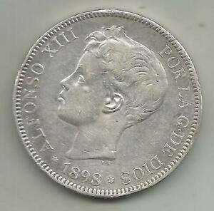 SPAIN 5 PESETAS 1898  ALFONSO XIII KM 707. SILVER COIN. XF CONDITION. 4RW 07DES