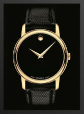 ✓ MOVADO Museum 2100005 Gold Classic Black Dial Leather Men's Watch