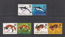 2004 Mammals Of Cyprus Dolphin Fox Hare Lepus Set Of 6v Opt. Specimen Mnh