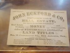 1880 San Antonio Texas TX John Eckford Business Card Land Real Estate LOOK!
