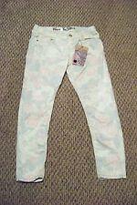 nwt womens juniors vanilla star cream floral skinny jeans size 13 32 x 25