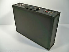 """Black Leather Slim Attache w/ Fan File 4"""" Briefcase"""