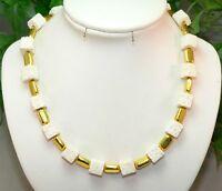 WÜRFELKETTE Kette  LAVA Halskette WEIß Gold  mit goldenen  ELEMENTEN   277f