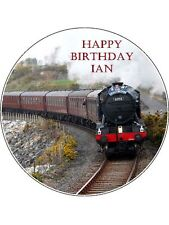 """Personalised Steam Train 7.5"""" Round Edible Icing Cake Topper #2"""