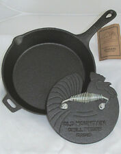 OLD MOUNTAIN CAST IRON PRE-SEASONED SKILLET AND ROOSTER GRILL PRESS SET-NEW