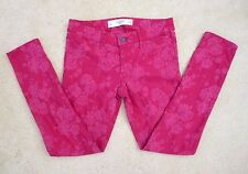 Abercrombie Womens Floral Print Skinny Jeans Size 2 Pants Red