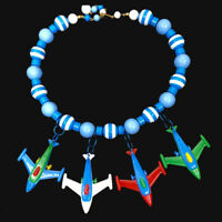 Airplanes, Vintage Puzzle Toys and Plastic Beads Statement Necklace