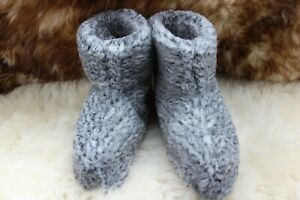 100% NATURAL SHEEP WOOL COZY SLIPPERS BOOTS WOMENS/MENS UNISEX NON SLIP SOLE