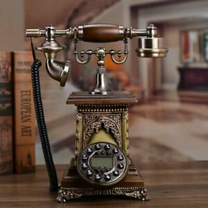 Vintage Antique Old Fashioned Dial Telephone Caller ID LCD Screen Home Decor