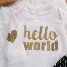 """Hello World"" Baby Romper - Long Sleeve - 3-6 Months"