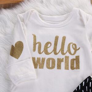 """Hello World"" Baby Romper - Long Sleeve - 3-6 Months"
