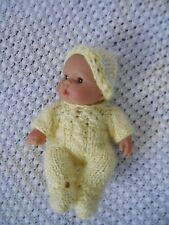 "Doll Clothes Hand-knit Yellow Romper-jumper Set Fits 7"" to 8"" husky baby"