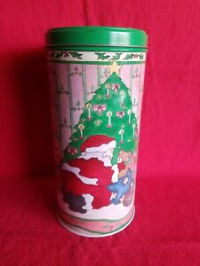 """Lillian Vernon 1988 Christmas Tin With 14 Red 7"""" Scented Taper Candles NWOT"""
