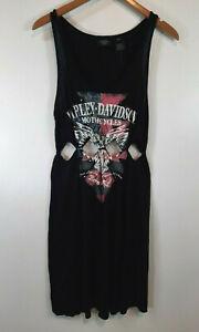 Harley Davidson Womens Dress Size XL Tank Sleeveless Cut Outs Black Sexy Short