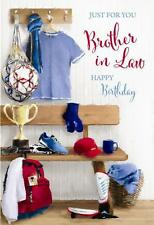 Brother In Law Sports Trophy Football Shirt Shin Pads Design Happy Birthday Card