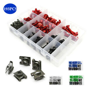 193× Motorcycle Fairing Windshield Body Bolts Clips Panel Color Screw Universal