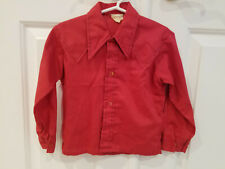 Vtg 60s Boys Toddler Childrens Red Western Button Dress Shirt Pointed Collar