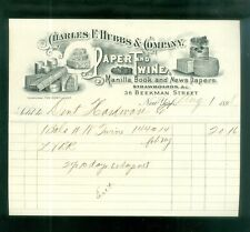 1898 Letterhead Hubbs Paper Twine News Papers New York