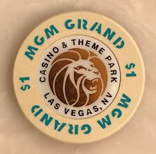 MGM Grand Theme Park Las Vegas $1 Casino Chip Obsolete Lion