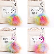 Lovely Multicolour Unicorn Keychain Fur Fluffy Pompom Bag Car Keyring Key Chain
