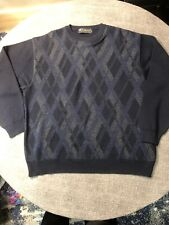 Tuscan Navy Blue Crew Neck Argyle Sweater Men's Large Merino Blend Made In Italy