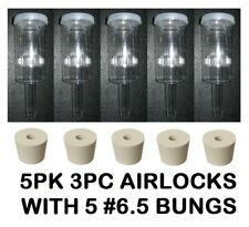 AIRLOCKS 5 3PC +6.5 RUBBER BUNGS TOP QUALITY FERMENTATION AIR LOCK FOR BEER WINE