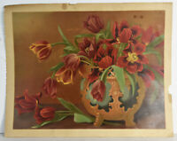 """18"""" Antique Litho Print Fall Autumn Flowers in Vase Still Life Red Lilies"""